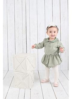 Nila Kids Açık Yeşil Rengi Organik Kız Bebek Tulum Elbise NK01015AY 3-6A (3 AY- 1 YAş)